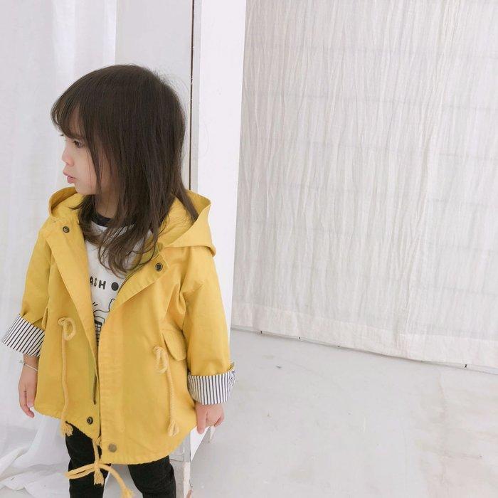 女童 春裝新款韓潮風衣女寶小童春秋季時尚中長款外套