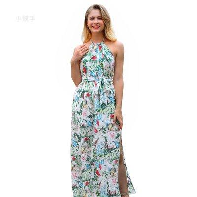 歐美女裝波西米亞吊帶連衣裙夏滌綸印花漏背沙灘裙#居家家特賣#