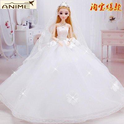 兩件免運~格一芭比兒婚紗玩具手工花朵拖尾大裙3d眼新娘女孩生日禮物洋娃娃