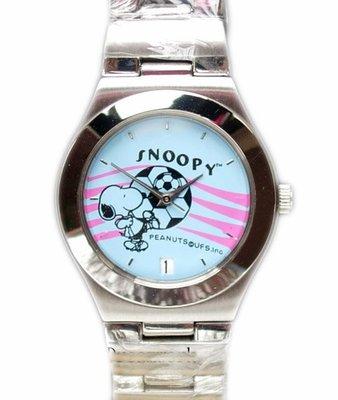 【卡漫迷】 六折出清 Snoopy手錶 足球 ㊣版 史努比 史奴比 男錶 女錶 不鏽鋼 日期 日曆 鐵錶 卡通錶 金屬錶
