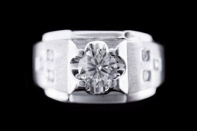 天然鑽石戒指  點鑽設計款男戒 0.5...