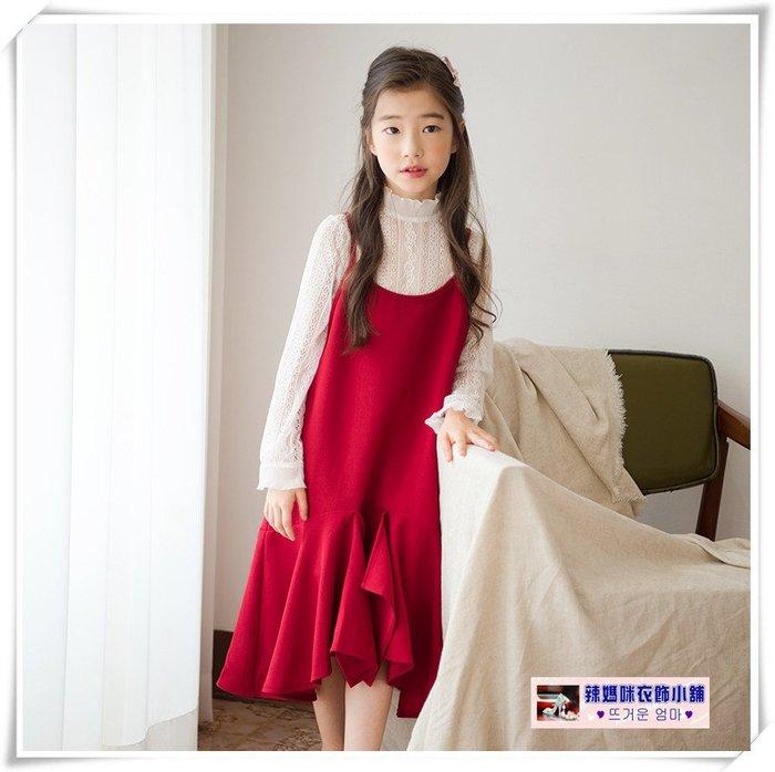 •*~ 辣媽咪衣飾小舖 ~*•❤童裝系列❤X960246韓版大童甜美百搭蕾絲長袖上衣+洋氣吊帶裙二件套套裝