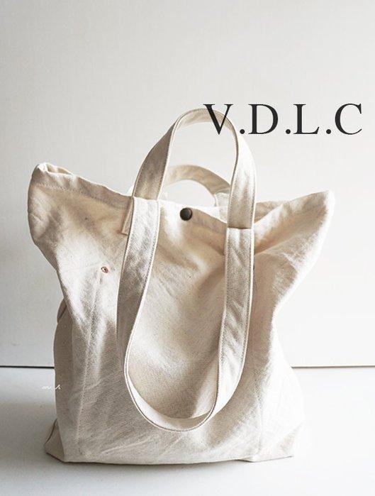 MH選物室 V.D.L.C 日本製 手工 厚磅數 倉敷帆布 2WAY 肩背 手提 兩用 帆布袋 VC2