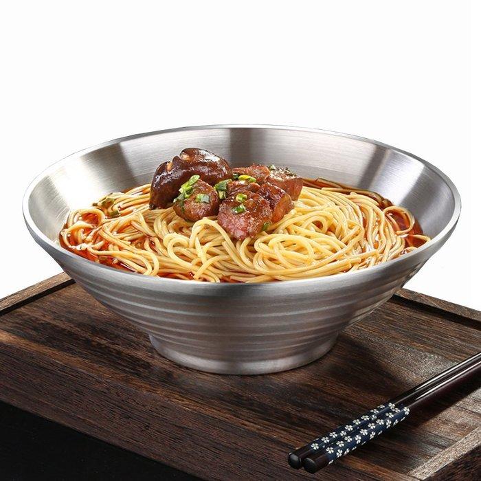 餐具用品304不鏽鋼飯碗湯碗泡面碗防燙拉麵碗小號碗(22CM)E128