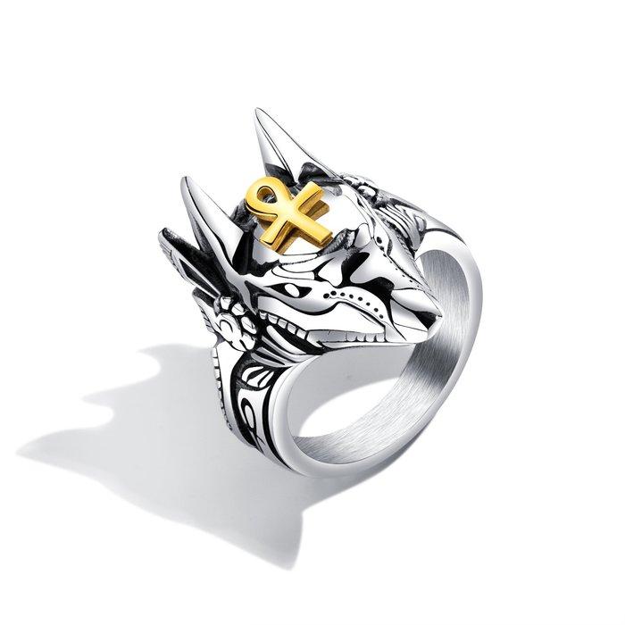 霸氣創意阿努比斯埃及十字架戒指鈦鋼男士朋克指環潮男手飾N626