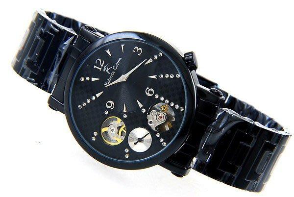 (六四三精品)三圓可見機械運轉及小秒轉動.石英.自動上鍊機械錶.鋼槍烤漆.黑面