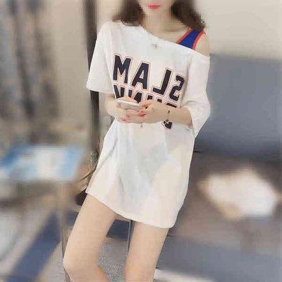 女裝夏裝2016新款露肩上衣學生字母印花白色寬松短袖T恤女中長款