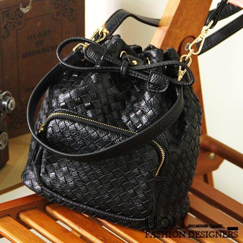 *UOU精品*韓國時尚款 手工編織 質感抽繩水桶包單肩包/側背包(附背帶)‧3色/kr099