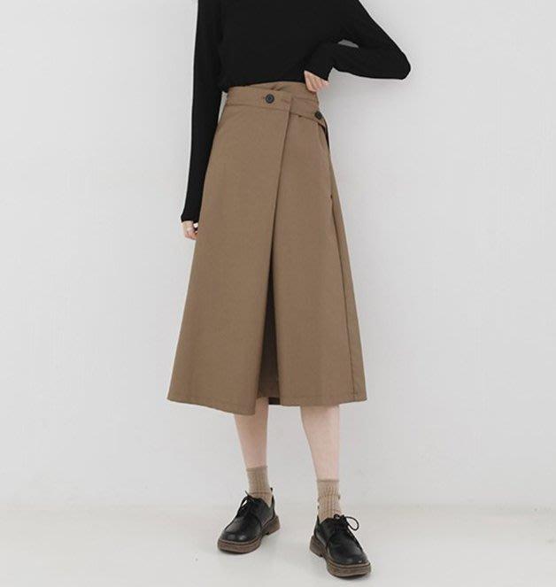 SeyeS  {韓國空運} NYLON古著時尚英倫不規則A字一片扣帶設計感半身裙