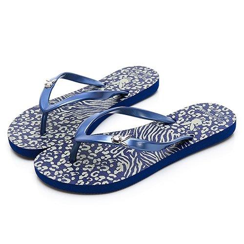 【曼曼鞋坊】 PLAYBOY 女鞋 PLAY BOY 個性 動物紋 人字拖 拖鞋 夾腳拖 海灘拖 藍 YT512