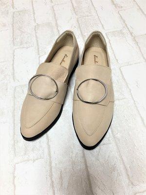現貨出清~台灣手工製 全真羊皮休閒鞋–米色 1319-23   米蘭風情