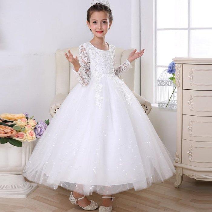 [C.M.平價精品館]新品特價100~160/美麗蕾絲面料閃亮長裙縷空長袖白色洋裝 小童/中大童