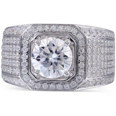 3克拉 男士華麗尊貴鑽戒(莫桑石 摩星鑽 鑽石 裸石) 鑽石品質