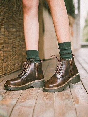 娃娃鞋牛津鞋休閒鞋 鹿與深林 ins馬丁靴女短筒圓頭復古學院風短靴高幫加絨松糕底皮鞋