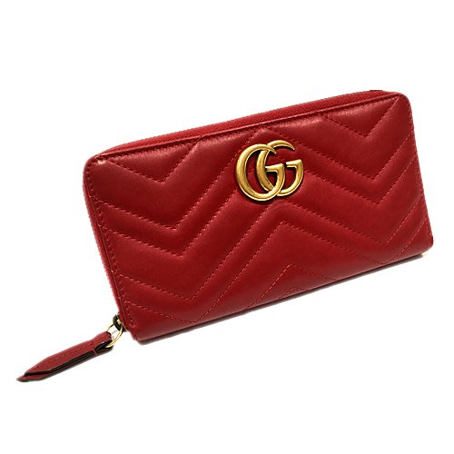 二手旗艦 GUCCI GG Marmont 紅色 牛皮 拉鍊 女用 長夾 錢包(公益店)28801