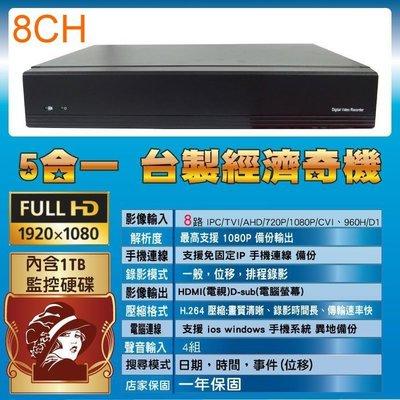 台灣製造 高CP值 8路監控主機 內含1TB硬碟 一年保固 簡單易用 支援手機掃QR快速連線 台中監視器 監視系統 維修