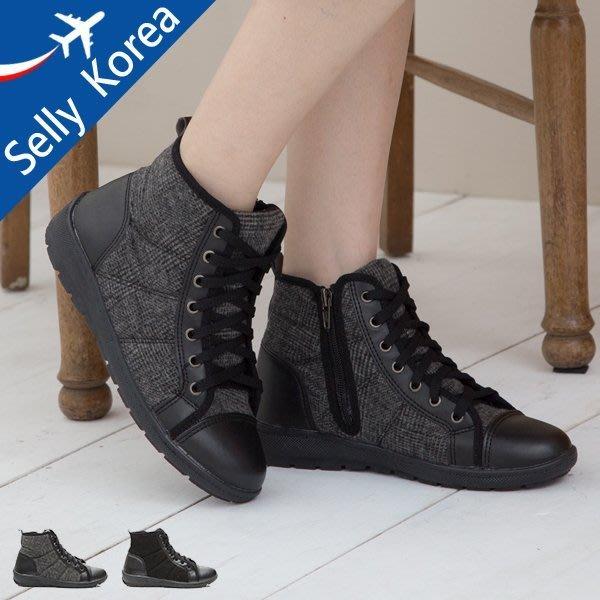 正韓 精靈靴 毛呢 拉鍊 運動 拳擊 短靴-Selly-沙粒-(KR206)-2色