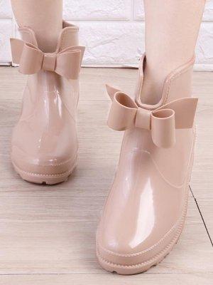 哆啦本鋪 雨鞋女韓國雨靴學生短筒可愛蝴蝶結水鞋防滑防水膠鞋加絨套鞋D655
