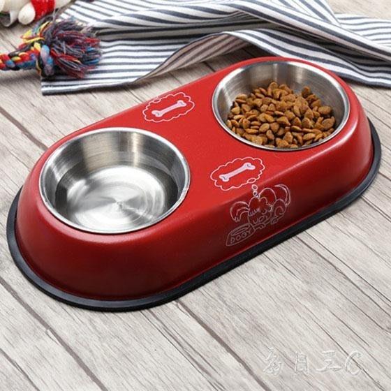 自動飲水雙碗中大型狗狗貓咪寵物食盤xx5767 【優の館】