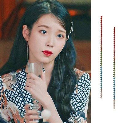 韓國飾品館&德魯納酒店IU李智恩同款耳環張滿月耳釘925銀針網紅夸張長款耳飾