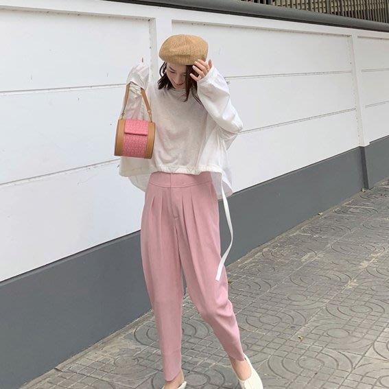 ACHIC┼百搭歐美時髦西裝休閒褲 超級修飾高腰封錐形褲190500800四色