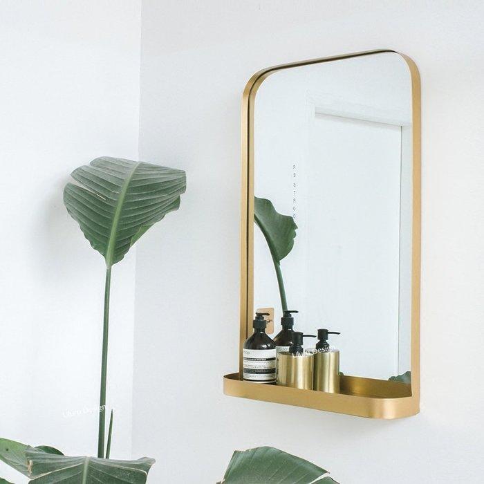 【Uluru】北歐設計師款掛鏡 鏡子 Loft 工業風 美式復古鏡 早午餐 餐廳 咖啡廳 客廳 廁所鏡子 金色 黑色