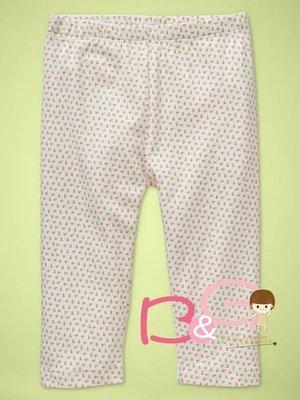 【B& G童裝】正品美國進口GAP Pretty printed leggings小碎花圖樣米白色彈性長褲18-24m