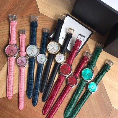 GUCCI 新款女士石英手錶 真皮錶帶 附盒子 禮品袋