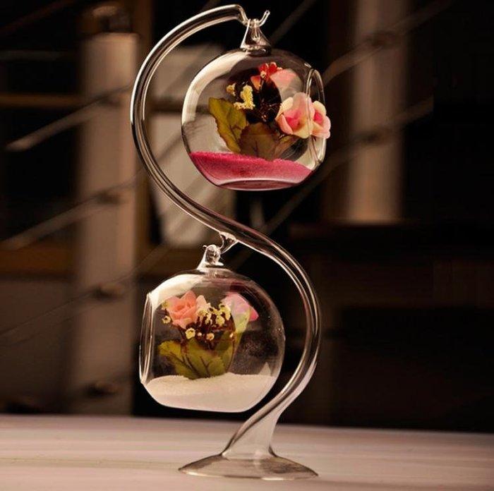 創意歐式懸掛透明玻璃花瓶擺件水培花器多肉苔蘚瓶微景觀美式仿真 免運費