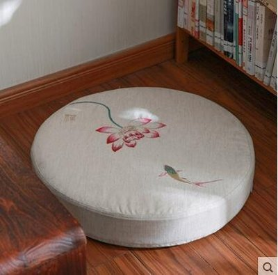 【優上】Nobildonna 亞麻刺繡禪修墊蒲團墊子榻榻米椅墊坐墊「玫紅蓮花款」