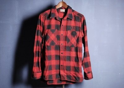日本品牌 Parasite 紅黑格紋 復古格紋襯衫 長袖襯衫