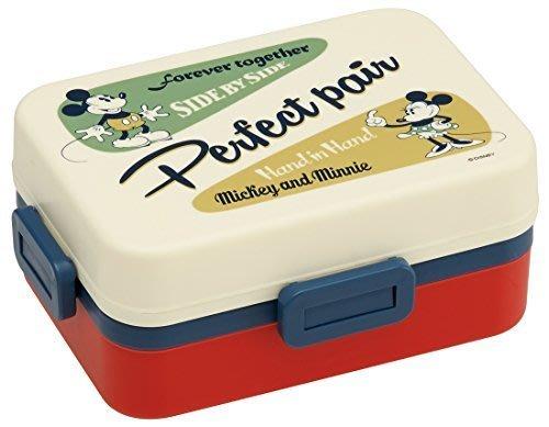 現貨不必等 迪士尼 米奇 米妮 復古風 樂扣型方型 便當盒/保鮮盒/附保冷劑 580ML 4973307289590 c