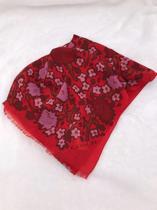 COACH F57384 專櫃款 紅色羊毛披肩圍巾
