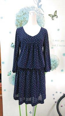 ships 日本製藍色點點洋裝/連身裙(142)