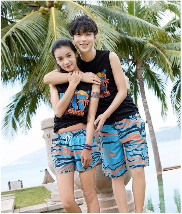 海邊度假沙灘褲男速乾短褲寬鬆大碼情侶套裝
