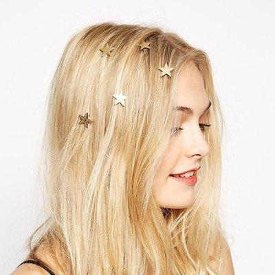韓國極簡風金色星星髪夾珍珠滿天星旋轉邊夾髪飾韓版甜美造型飾品