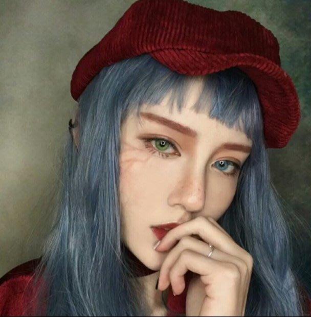 Q806-韓國女長髮空氣劉海時尚網紅大頭皮藍灰長直發蓬鬆自然逼真假髮套#假發套#藍灰色#