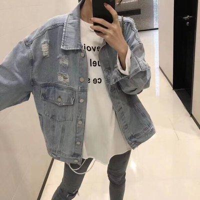 【現貨~韓國進口】歐美、亞洲時尚圈年年必出的牛仔外套~水洗磨破寬鬆牛仔外套~此生一定有1件的啦!!