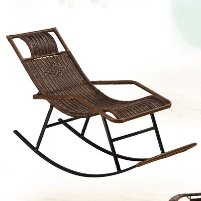 【在地人傢俱】19 便宜購-黑色PVC休閒籐編織搖椅/休閒椅/躺椅 SH841-2
