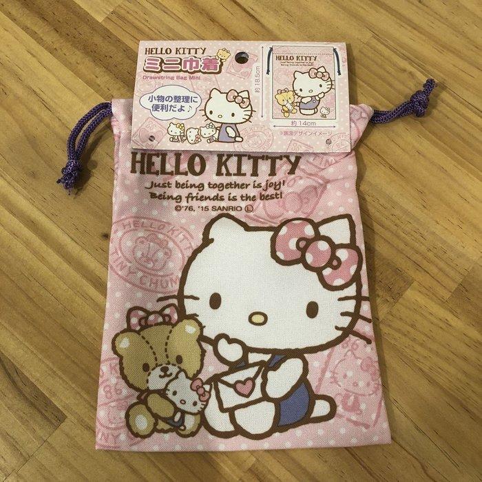 朵拉媽咪【全新現貨】日本帶回 三麗鷗 HELLO KITTY 粉色 束口袋 收納袋 收納包 衛生用品包 小袋 小包