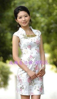 【玫瑰生活館】~ 改良式旗袍ㄩ領~中國結~綠,紫2色 ~~new arrival~~新款上市,高級手工刺繡旗袍