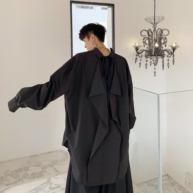 FINDSENSE 2019 秋季上新 G19 長款拼接寬鬆蝙蝠袖時尚潮流長袖襯衫素面襯衫 男裝 上衣