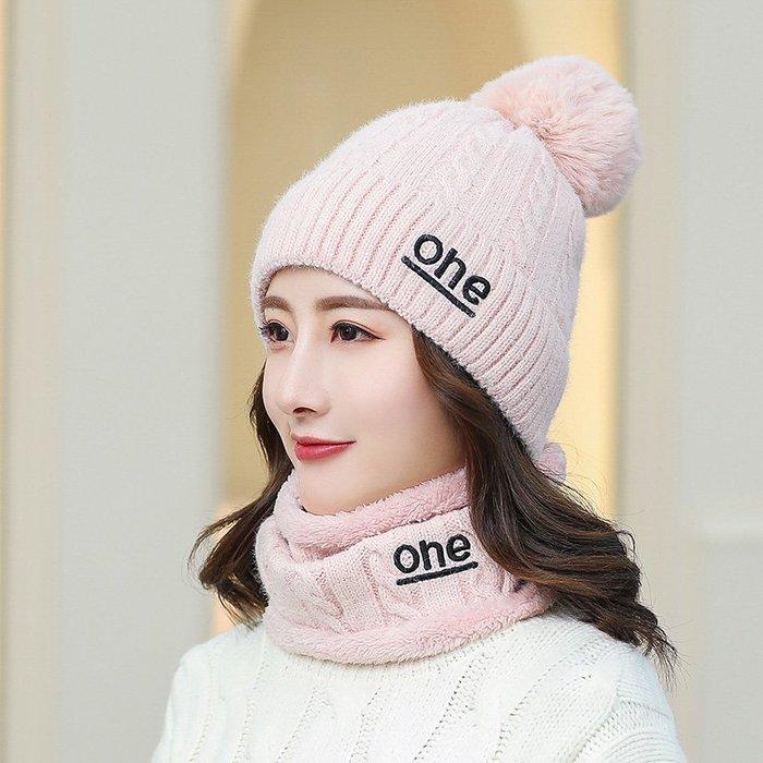 【berry_lin107營業中】帽子女秋冬季韓版時尚潮網紅款學生保暖加絨百搭圍脖毛線帽兩件套
