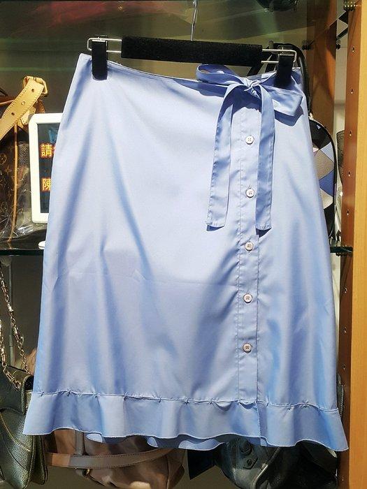 *旺角名店* ㊣ PRADA 正品 真品 天空藍 前側扣 綁帶 手縫荷葉邊 及膝裙 A字裙 洋裝