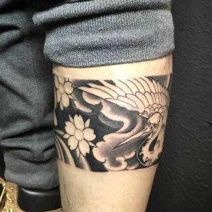 【萌古屋】浮世繪風格櫻花鶴海浪環形圖 - 防水紋身貼紙手臂腳踝環形刺青貼紙A74 K72