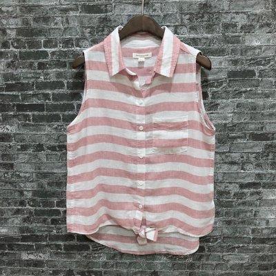 Maple麋鹿小舖 美國購買beachlunchlounge * 粉白條紋無袖襯衫 * ( 現貨S號 )