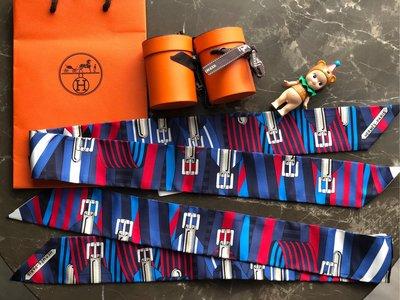 (已售 欣賞)【蜜柑醬】Hermès/Hermes 愛馬仕 twilly 絲巾sangles,兩條不單售