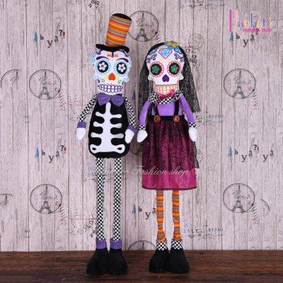 ☆[Hankaro]☆ 歐美創意萬聖節布置道具可站立伸縮骷髏夫婦可可夜總會造型裝飾