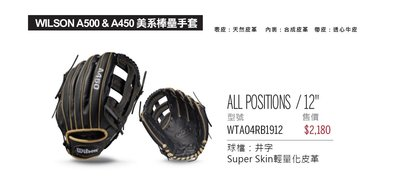 "【綠色大地】 WILSON A450 美系棒壘手套 ALL POSITIONS 12"" MIZUNO XONNES"