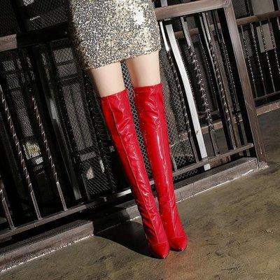 大尺碼女鞋 小尺碼女鞋 漆皮靴高跟長筒靴過膝長靴子女顯瘦腿彈力靴性感紅色鋼管舞鞋夜店